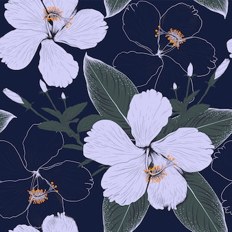 Seamless pattern hibiscus flowers on dark blue background. illustration drawing fabric design.