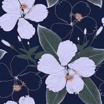 暗い青色の背景にシームレスパターンハイビスカスの花。イラスト描画生地デザイン。