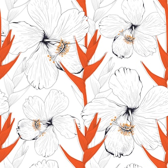 Seamless pattern hibiscus and heliconia flower abstract background.  drawing line art.
