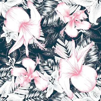 Seamless pattern hibiscus and lily flowers abstract background