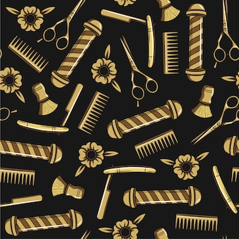 Seamless  pattern in a hipster style. tools for male haircuts. print for men's barber shop. a set of accessories for men's hairdresser on black background.