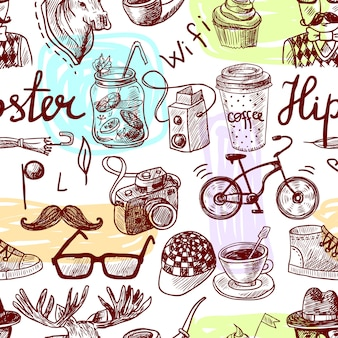 Seamless pattern hipster