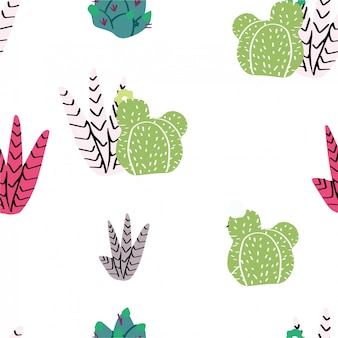 Seamless pattern, home decor in modern scandic style. succulents, cactuses and other plants growing in florariums