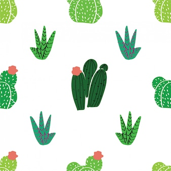 Seamless pattern home decor in modern scandic style. succulents, cactuses and other plants growing in florariums