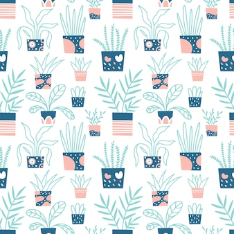 Seamless pattern of home plants. hand-drawn print for fabric, wallpaper.