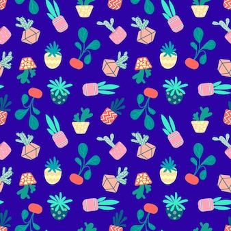 Seamless pattern of home potted plants. vector illustration