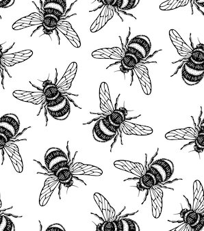 Seamless pattern of honey bee in style doodle hand draw illustration