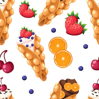 シームレスパターン香港ワッフルチェリーイチゴオレンジと白い背景のウェブサイトのページとモバイルアプリのホイップクリームまたはチョコレートクリームのイラスト