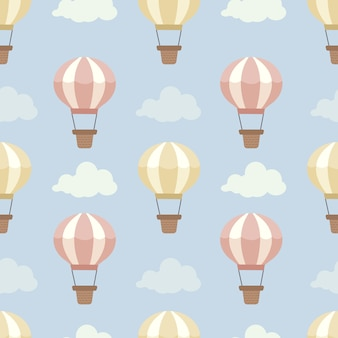 The seamless pattern of hot air balloon on the blue sky with a cloud set.