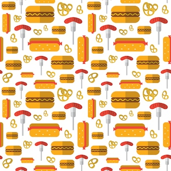 Seamless pattern hot dogs, pretzels, german sausages