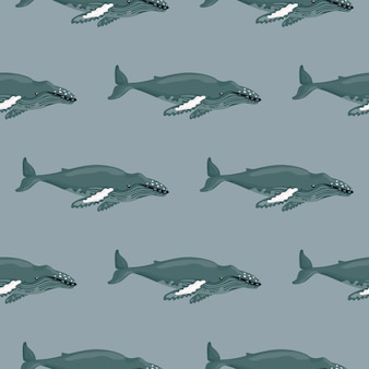 Seamless pattern humpback whale on gray background. template of cartoon character of ocean for children.