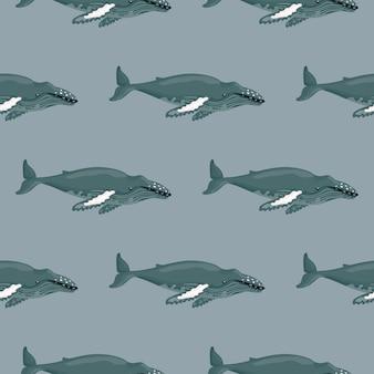 원활한 패턴 회색 배경에 향유 고래입니다. 어린이를 위한 바다의 만화 캐릭터 템플릿입니다.