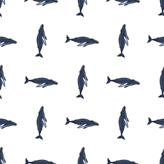 Seamless pattern humpback whale on white background. template of cartoon character of ocean for children.
