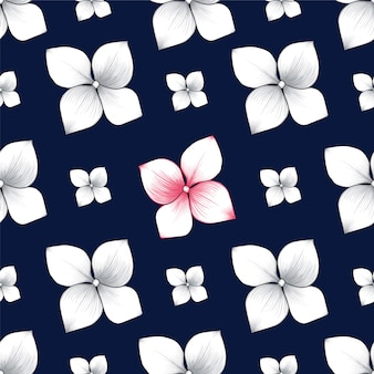 Seamless pattern hydrangea flowers abstract background.