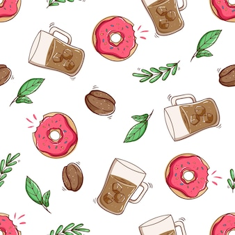 Seamless pattern of ice coffee and donut with doodle style