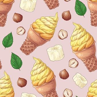 シームレスパターンアイスクリームバナナナッツ。手描きのベクトルイラスト
