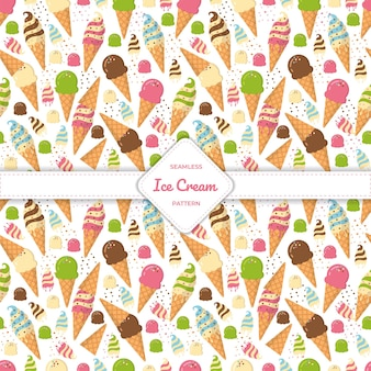 Seamless pattern ice cream cone, cup and stick