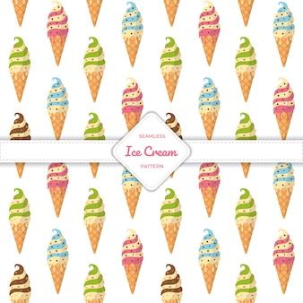 Бесшовные модели конус мороженого плоский дизайн пастельные красочные лето.