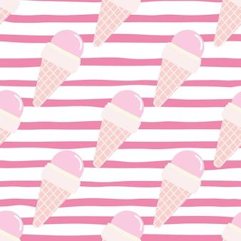 ワッフルコーンのシームレスパターンのアイスクリーム。ピンクと白の色で明るい食べ物。剥かれた背景。布、繊維、包装紙、壁紙の装飾的な背景。図。