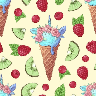 Seamless pattern ice cream kiwi raspberry cherry.
