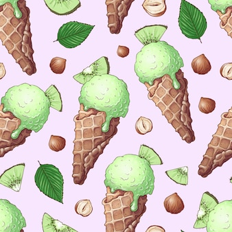Seamless pattern ice cream nuts kiwi.