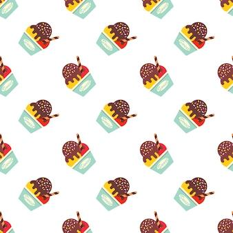 Seamless pattern ice cream popsicle