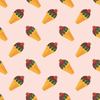 Seamless pattern ice cream popsicle