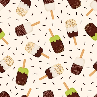 Seamless pattern of ice cream with chocolate, nuts, pistachios