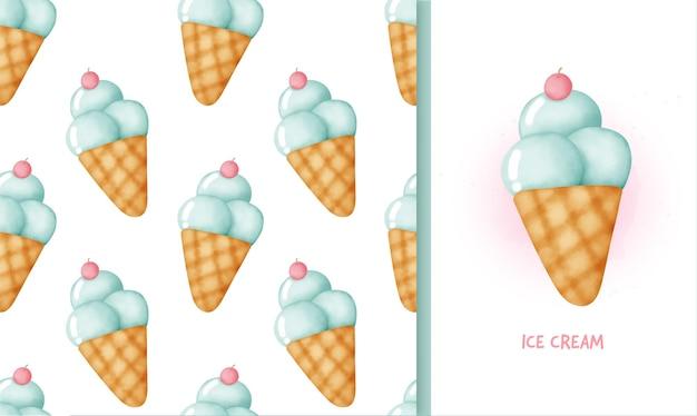 シームレスパターンのアイスクリーム