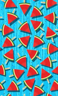 Seamless pattern ice pops of watermelon