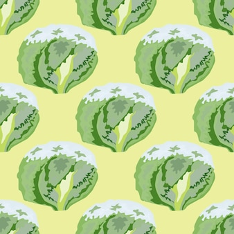 Seamless pattern iceberg salad on beige background. simple ornament with lettuce. geometric plant template for fabric. design vector illustration.