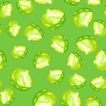 Seamless pattern iceberg salad on bright green background. modern ornament with lettuce. random plant template for fabric. design vector illustration.