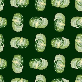 Seamless pattern iceberg salad on dark green background. modern ornament with lettuce. geometric plant template for fabric. design vector illustration.