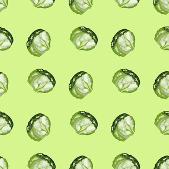 パステルカラーの背景にシームレスパターンの氷山サラダ。レタスのモダンな飾り。ファブリックの幾何学的な植物テンプレート。デザインベクトルイラスト。