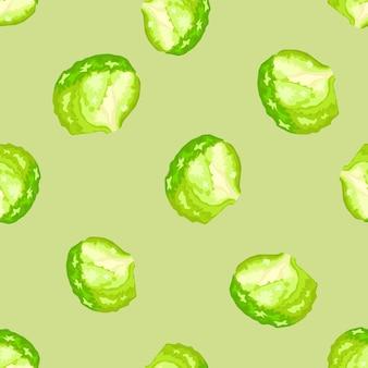 파스텔 녹색 배경에 원활한 패턴 빙산 샐러드입니다. 양상추와 함께 간단한 장식입니다. 직물에 대한 임의의 식물 템플릿입니다. 디자인 벡터 일러스트 레이 션.