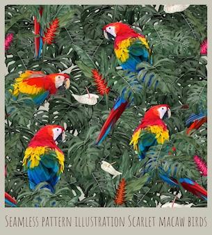 シームレスパターンイラストアマゾン熱帯雨林コンゴウインコ鳥と葉。