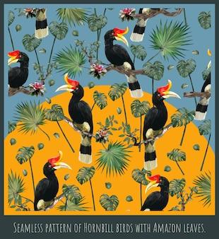 アマゾンの熱帯雨林サイチョウの鳥と葉のシームレスなパターンイラストアート。