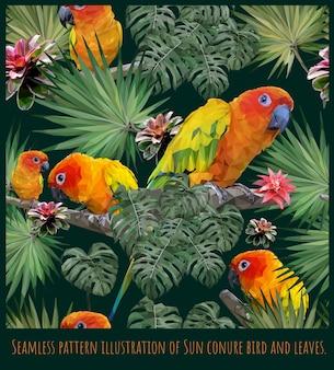 アマゾンの熱帯雨林のシームレスなパターンイラストアートコガネメキシコインコ鳥と葉。