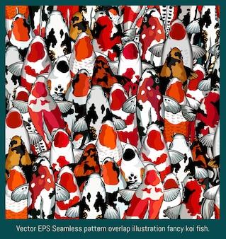 Seamless pattern illustration hand drawn art of mix colorful overlap koi fish.