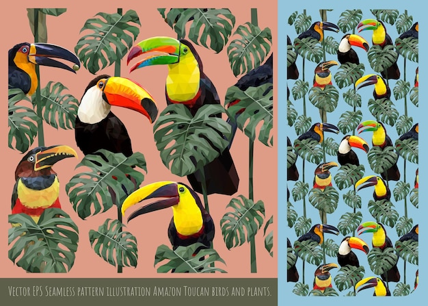 Seamless pattern illustration hand drawn art of mix colorful toucan birds.