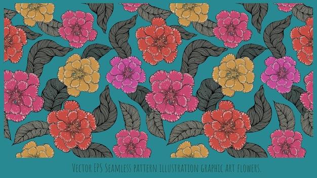 カラフルな花や葉のシームレスなパターンイラスト手描きアート。