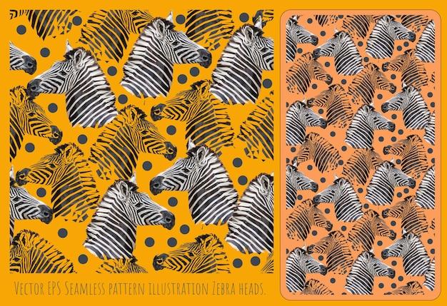 Seamless pattern illustration hand drawn art of zebra heads.
