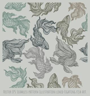 Бесшовные иллюстрации рисованной выровнянные цвета боевых рыб.