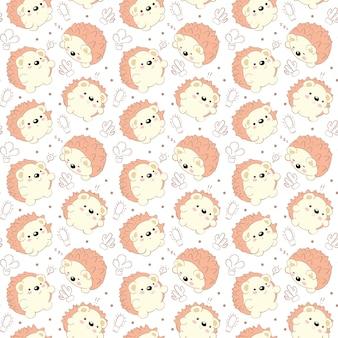 Seamless pattern illustration hand drawn porcupine orange color