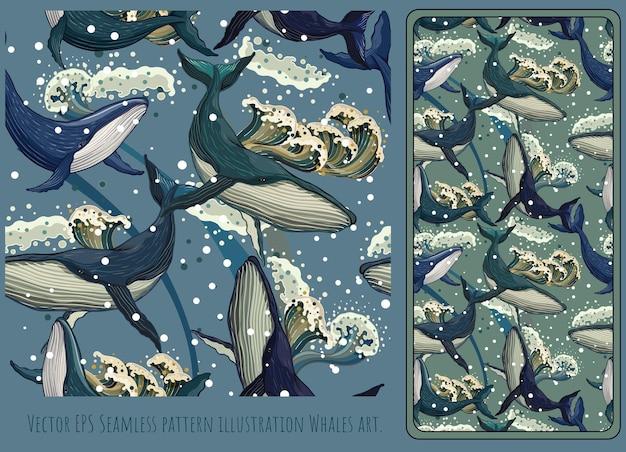 Бесшовные иллюстрации рисованной плавание китов.