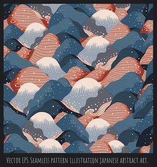 Seamless pattern illustration japanese style art,mountain shapes, overlapping.