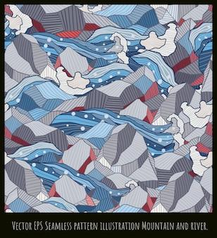Бесшовные иллюстрации японского стиля искусства, горные формы, перекрытия.