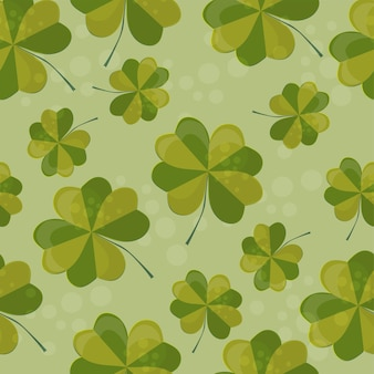 Seamless pattern illustration with clover with four leaves as a symbol of luck. clover decoration as a symbol of irish cultural and religious celebration