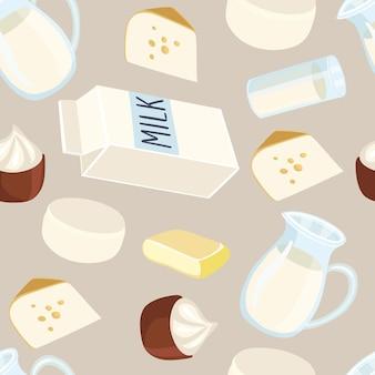 乳製品の生産と手書きのレタリングのシームレスなパターンのイラスト。牛乳の水差し、バター、牛乳のガラス、サワークリーム、カッテージチーズ、チーズ、牛乳の包装