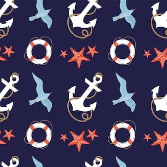 앵커, 갈매기, 불가사리가 있는 해양 테마의 매끄러운 패턴입니다.